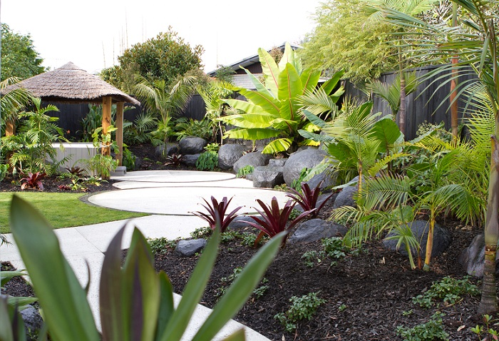Tropical delight on the shore peter fry for Landscape design ideas nz